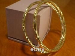 9k 9ct Solid Gold Twist Style Bangles Pair. 6.5cm, 3.8mm 8.61g
