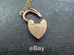 ANTIQUE EDWARDIAN 9ct ROSE GOLD CURB LINK BRACELET 1909 Heart padlock Clasp