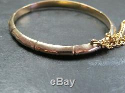 ANTIQUE VICTORIAN 9ct GOLD BAMBOO BRACELET BANGLE 1888