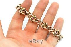 A Fantastic Antique Edwardian C1904 9ct Gold Curb Link Ruby & Pearl Bracelet