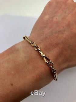 A Nice Heavy Antique Victorian 375 9ct Rose Gold Fancy Linked Chain Bracelet