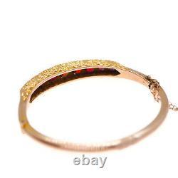 A Stunning Antique Garnet & Diamond 9ct Gold Bracelet/Bangle