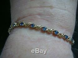 A Vintage Tjc 1 Carat Natural Ceylon Sapphire & Solid 9ct Gold Bracelet 7.5 Ins