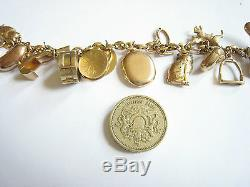 Antique 18ct Gold Charm Bracelet With 18 9ct Charms