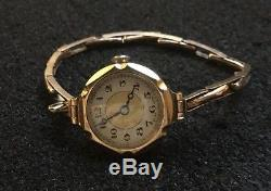 Antique 9ct 9k Gold Ladies Wrist Watch Expandable Bracelet
