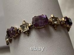 Antique 9ct Gold Amethyst White Sapphire Ladies Bracelet