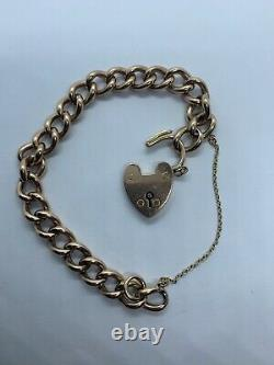 Antique 9ct Gold Curb Chain Bracelet With A Heart Clasp