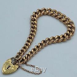 Antique 9ct Gold Graduated Link Charm Bracelet Heart Lock Fastener #770