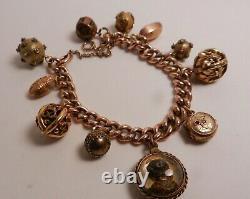 Antique 9ct Gold Victorian Etruscan Fob Charm Bracelet, Reverse Painted Dog Charm