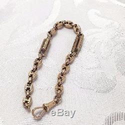 Antique 9ct ROSE GOLD Bracelet Albert 9K Fancy Trombone Links 7 Inches 8.7g