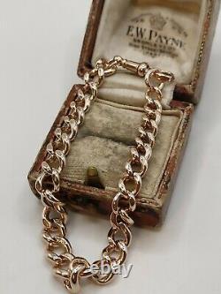 Antique 9ct Rose Gold Graduated Albert Curb Link Bracelet With Dog Clip Fastener