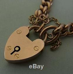 Antique 9ct Rose Gold Heart Padlock Bracelet / Charm Bracelet