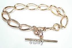 Antique 9ct Rose Gold Large Open Curb Linked Bracelet 32.6G 8.5