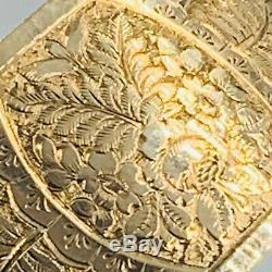 Antique 9ct Yellow Gold Floral Engraved Hinged Cuff Bangle #906