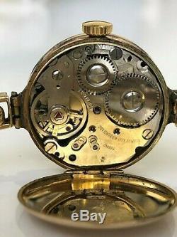 Antique 9ct solid gold bracelet & case swiss Wind Up wristwatch c1920 working