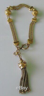Antique 9ct yellow gold Albertina bracelet (14.7g) with tassel