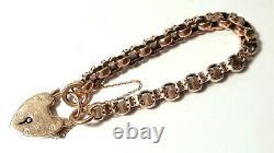 Antique Beautiful Link 9ct ROSE GOLD Romantic Heart PADLOCK Bracelet B'ham 1922