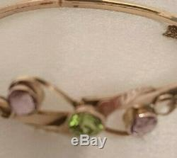 Antique Edwardian Suffragette 9ct Gold Amethyst And Peridot Bangle Circa 1910