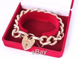 Antique Heavy 9ct Rose Gold Curb Link Chain Bracelet Heart Padlock. 30.66g c1890