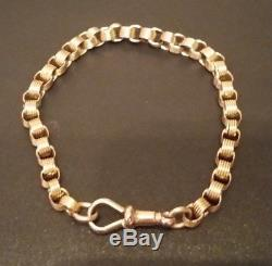 Antique Ladies 9ct Solid Rose Gold Box Belcher Albert Lobster Clasp Bracelet