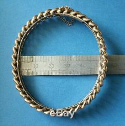 Antique, Rare Victorian 9ct Rose Gold, Oval, Set Chain, Bangle with Safty Chain