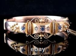 Antique Sapphire and Diamond bangle, 9ct Rose gold, yellow gold, Etruscan