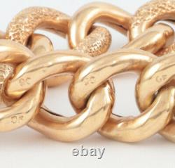 Antique Victorian 9Ct Gold Pattern / Chased Curb Link Bracelet In Original Case