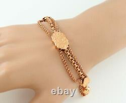 Antique Victorian 9Ct Rose Gold Albertina Watch Chain / Bracelet With Fob