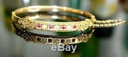 Antique Victorian 9ct Gold Bangle / Bracelet. Diamonds & Garnets