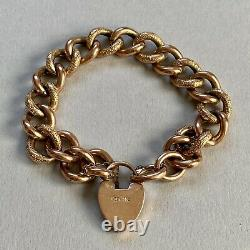 Antique Victorian 9ct Gold Curb Bracelet 21.70g Night And Day 7.5-8