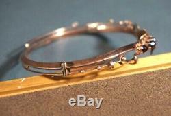 Antique Victorian 9ct. Gold Floral Lady Bangle Cuff Bracelet Cubic Garnet Stones