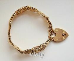 Antique Victorian 9ct Gold Gate Bracelet with Heart Padlock Clasp c1900 23.8g