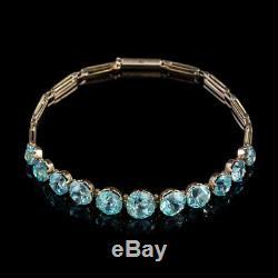 Antique Victorian Blue Zircon Bracelet 9ct Rose Gold Circa 1900