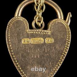 Antique Victorian Curb Bracelet 9ct Gold Heart Padlock Circa 1900