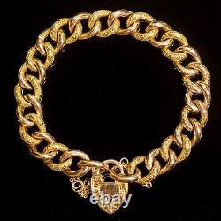 Antique Victorian Curb Bracelet 9ct Rose Gold Ornate Heart Padlock c. 1900