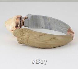 Antique Victorian Etruscan Revival 9Ct Rose Gold & Carved Lava Bangle Bracelet