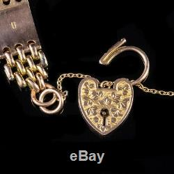 Antique Victorian Gate Bracelet Heart Padlock 9ct Gold Circa 1900