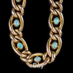 Antique Victorian Opal Curb Bracelet 9ct Gold Heart Padlock Circa 1900
