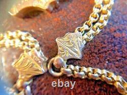 Antique Victorian Solid Gold Albert Watch Fob Chain Hallmarked 9CT Bracelet 9k