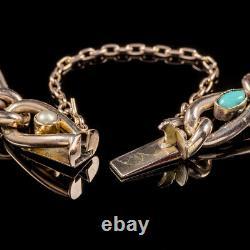 Antique Victorian Turquoise Pearl 9ct Rose Gold Bracelet Circa 1900