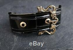 Antique Victorian Whitby Jet and gold buckle bracelet, cuff bracelet, 9ct
