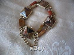 Antique Victorian vintage 9ct Gold old Scottish Agate Bracelet safety chain 9 ct