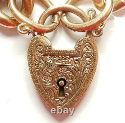 Antique curb bracelet 9ct rose gold patterned and plain links 25 grams 8