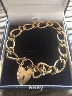 Approx 21cm Vintage Charm Bracelet Heart Lock 9ct Gold Hallmarked approx 10.7g