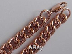 B016 Massive Genuine 9ct SOLID ROSE Gold CURB-LINK Curblink Bracelet 18.5cm