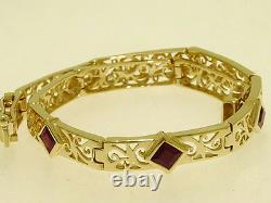 B089 Genuine 9K 9ct Solid Yellow GOLD FILIGREE Natural Ruby Line Bracelet 18.2cm
