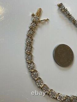 BEAUTIFUL HALLMARKED SOLID 9ct GOLD DIAMOND BRACELET