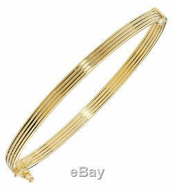 Beautiful 9ct Gold Ladies Hinged Bangle 4mm