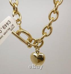 Beautiful 9ct yellow gold belcher necklace with T-bar fastening and heart drop
