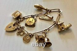 Beautiful Quality Ladies Vintage Solid 9CT Gold Charm Bracelet & Charms